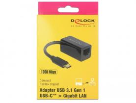 DeLock SuperSpeed USB (USB 3.1 Gen 1) with USB Type-C™ male > Gigabit LAN 10/100/1000 Mbps compact Black Adapter